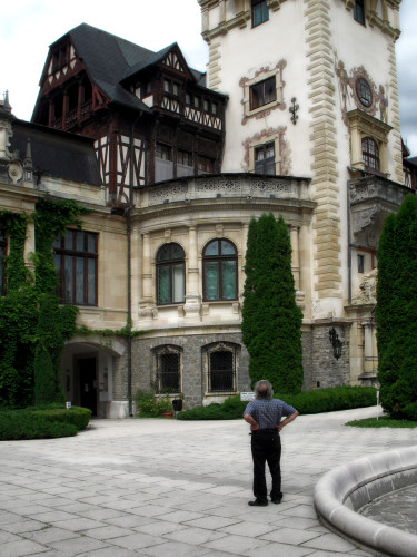 Looking up at Peles Castle